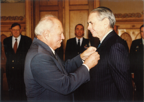 Donald receiving the Middle Cross of the Republic of Hungary