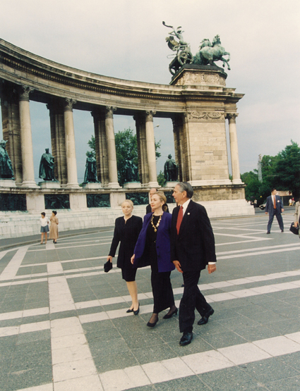 Vera and Donald with Hilary Clinton