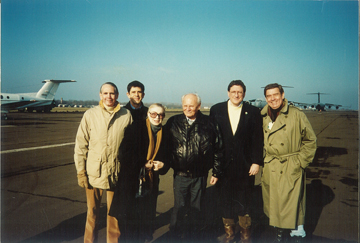 Taszar Airport with President Goncz, Richard Holbrooke, Dan Rather and Bill Siefkin