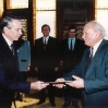 Presenting credentials to President Arpad Goncz