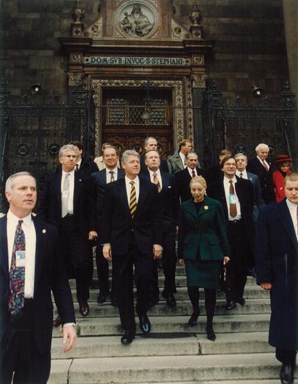Vera Guiding President Clinton at St. Stephen's Basilica
