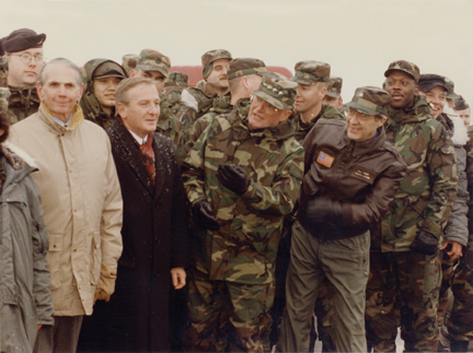 With Secretary of Defense William J. Perry, General John Shalikashvilli, Hungarian Minister of Defense